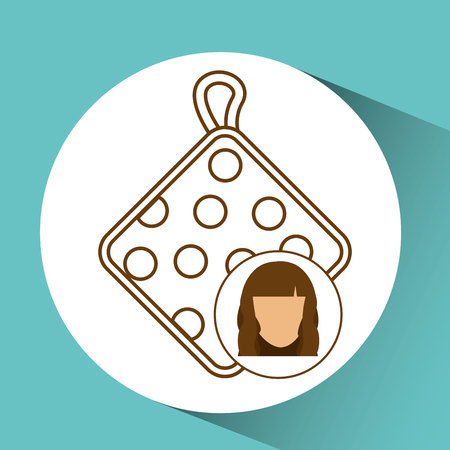 cooled: pot holder icon, female avatar blue background vector illustraion eps 10