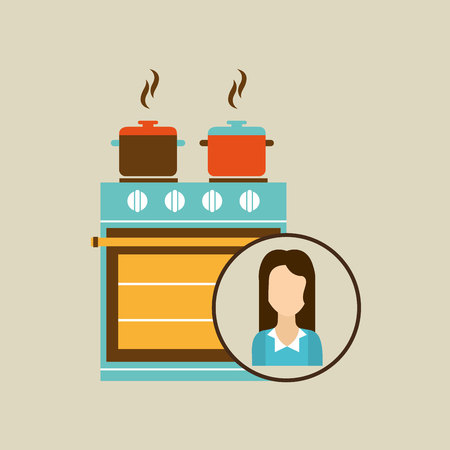domestic kitchen: domestic girl with kitchen icon, vector illustration Illustration