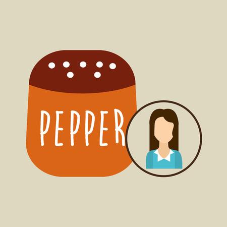 SHAKER: pepper shaker cook icon woman vector illustration