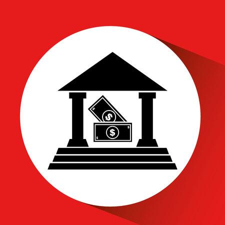 silhouette bank building bill money cash icon orange background vector illustration