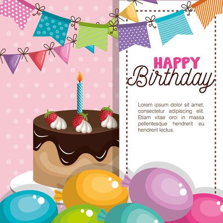 gelukkige verjaardag uitnodigingskaart vectorillustratieontwerp