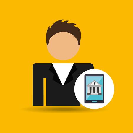 character man smartphone digital bank icon vector illustration