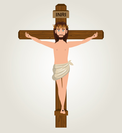 crucify: Jesus christ crucified cross desing vector illustration eps 10