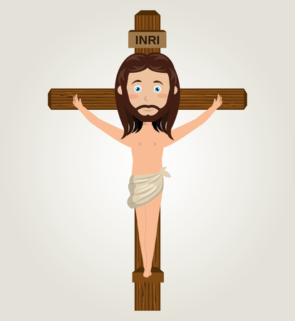 crucified: Jesus christ cross crucified desing isolated vector illustration eps 10 Illustration