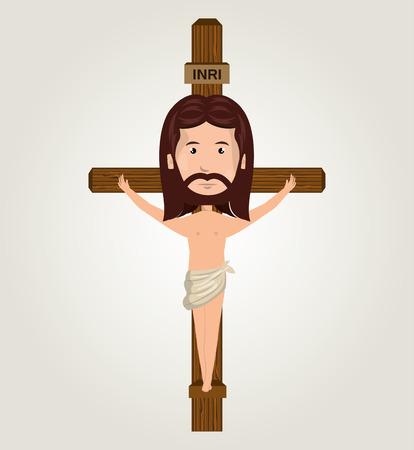 Jesus christ crucifix desing isolated vector illustration eps 10 Illustration