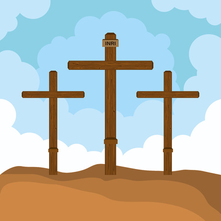 three cross mount calvary design vector illustration eps 10