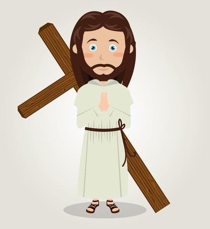 Jesus christ carrying cross in back design vector illustration eps 10 Illustration