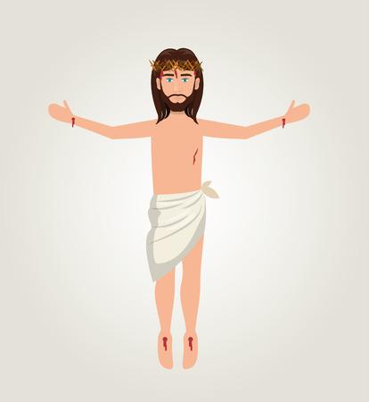redemption: cartoon jesus christ ascension design vector illustration eps 10 Illustration