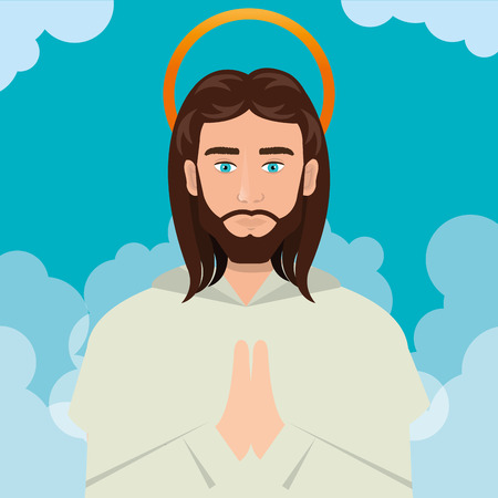 Jesus christ prayer ascension design vector illustration eps 10