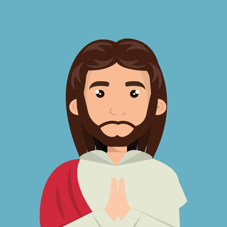 hope symbol of light: cartoon face Jesus christ design isolated vector illustration eps 10