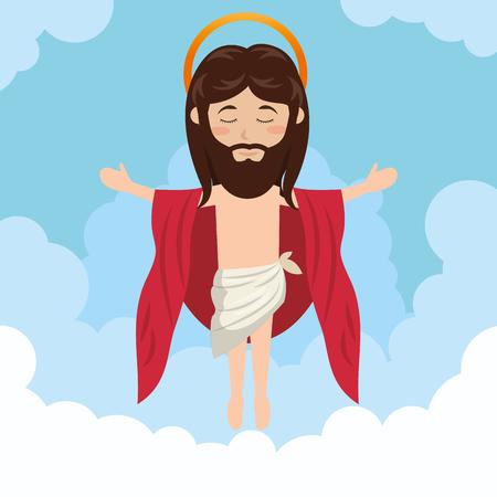 vangelo aperto: cartone animato Gesù Cristo ascensione design illustrazione vettoriale eps 10