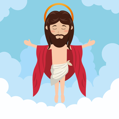 redemption: cartoon jesus christ ascension design vector illustration eps 10 Illustration