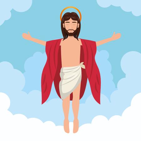 the ascension: cartoon jesus christ ascension design vector illustration eps 10 Illustration
