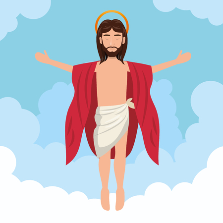 cartoon jesus christ ascension design vector illustration eps 10 Illustration