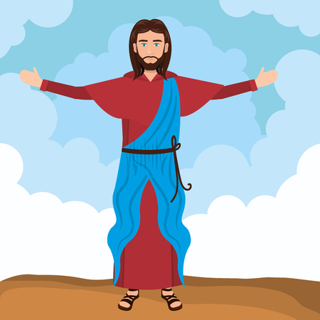 resurrected: Jesus christ religion resurrected design vector illustration eps 10