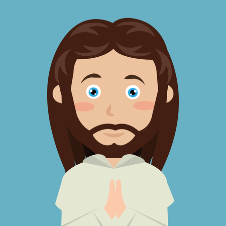 byzantine: cartoon face Jesus christ blue eyes design isolated vector illustration eps 10