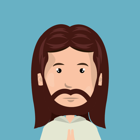 byzantine: cartoon face Jesus christ design isolated vector illustration eps 10