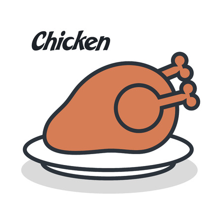 delicious chicken  isolated icon design, vector illustration  eps10