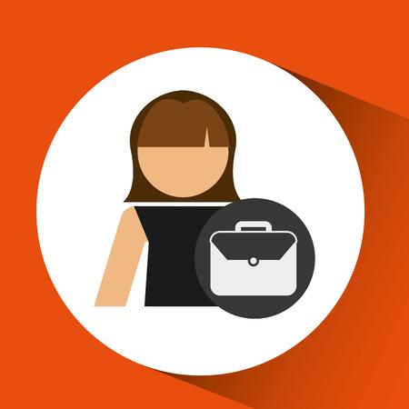 woman business portfolio file icon design vector illustration