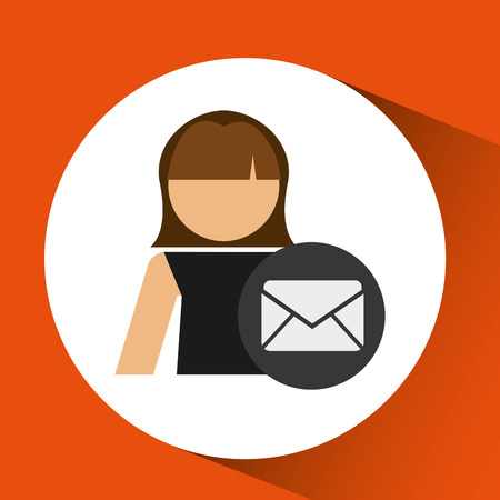 computer operator: woman icon with email message envelope vector illustration