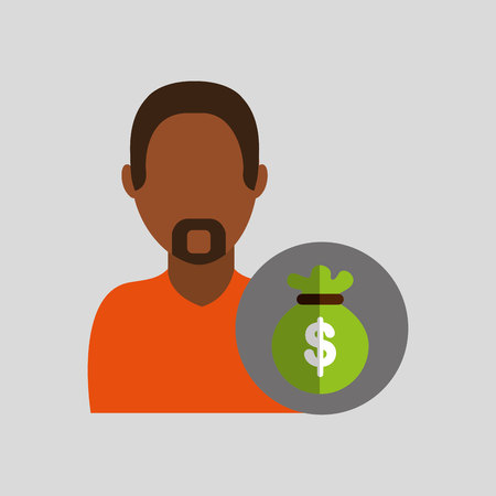 man african with bag money icon vector illustration