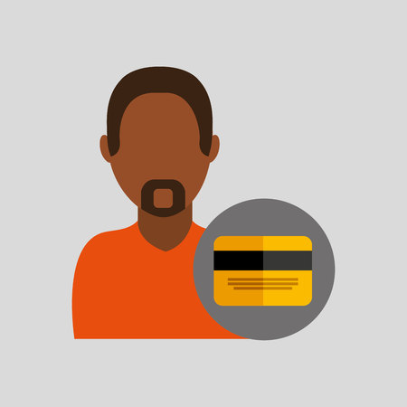 man african credit card icon design graphic isolated vector illustration