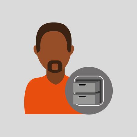 man file cabinet icon design graphic vector illustration