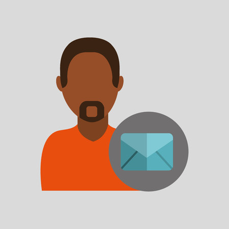 friend chart: man african email message icon design graphic isolated vector illustration