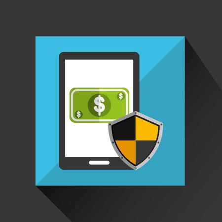 cel: cartoon smartphone bill cash money safe protection icon vector illustration Illustration