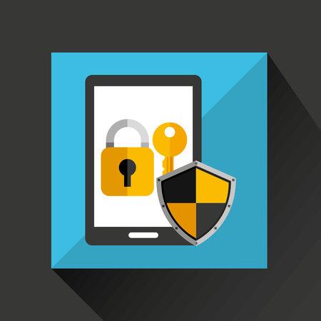 retinal: cartoon smartphone black with lock key security icon vector illustration