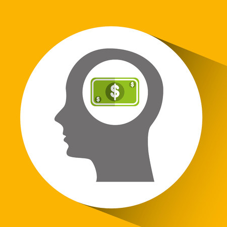 silhouette head with money cash bill icon vector illustration