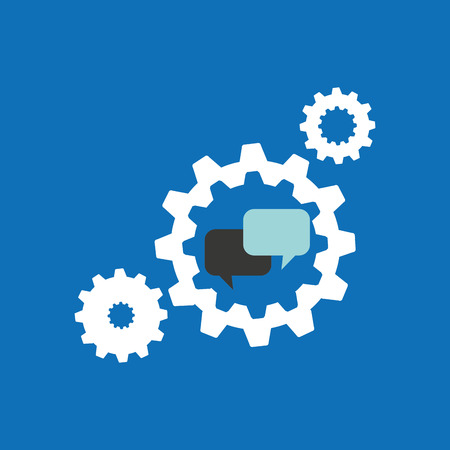 shere: set gears with bubble speak chat icon design vector illustration Illustration