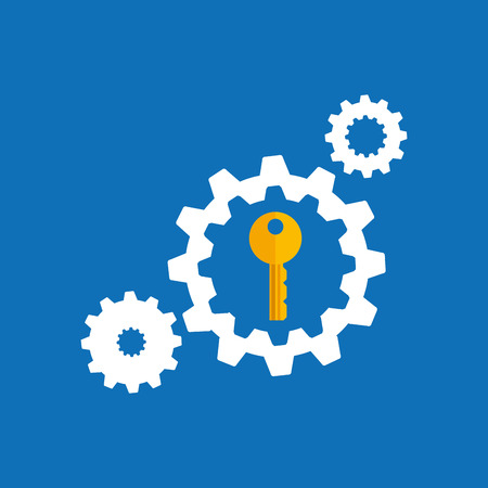 collection gear security lock icon design blue background vector illustration