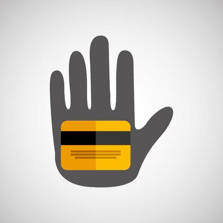 using senses: hand holding credit card icon, vector illustration Illustration
