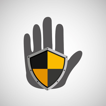 hand holding a security icon, vector illustration