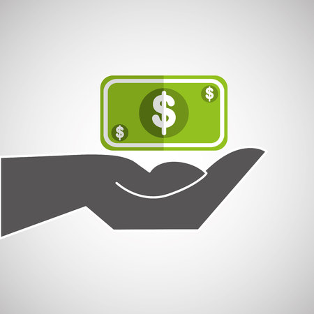 cash: hand holding a cash icon, vector illustration