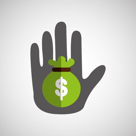 hand holding a bag of money icon, vector illustration Illustration
