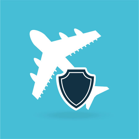 insurance airplane airport money design vector illustration