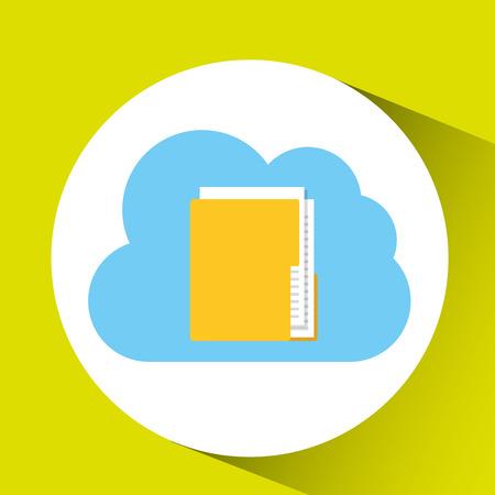 cloud technology folder file connection design vector illustration Illustration
