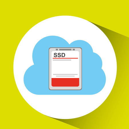 centralized: cloud ssd disk connection design graphic vector illustration