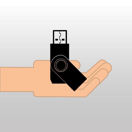 memory drive: USB memory drive black icon design vector illustration eps 10 Illustration