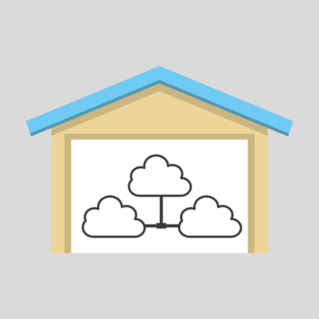 global settings: laptop technology clouds icon graphic vector illustration eps 10 Illustration