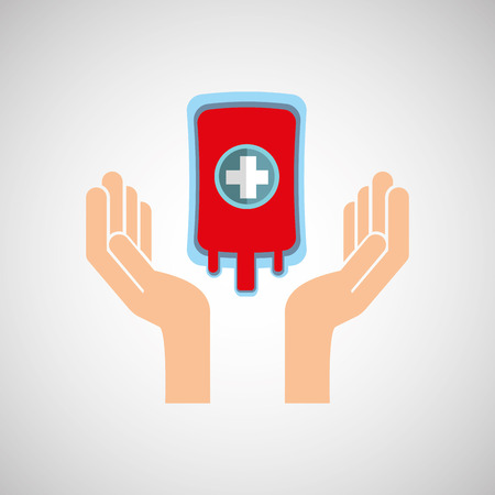 rh: hands with bag blood donation medicine icon vector illustration