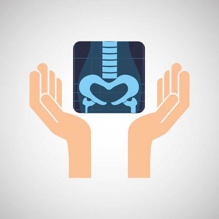 lugs: hands and x-ray body icon vector illustration