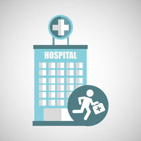 paramedic: paramedic first aid hospital building icon vector illustration