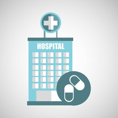 pulse trace: medicine capsule pill hosptial building icon vector illustration