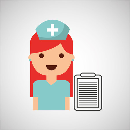 infirmary: nurse charatcer with pill capsule medication design vector illustration