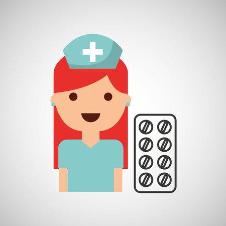 nurse character pharmacy medicine design vector illustration eps 10 Illustration