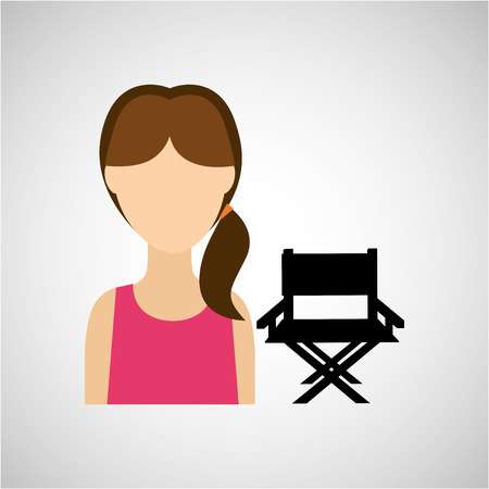 one girl only: woman character chair director film design vector illustration Illustration