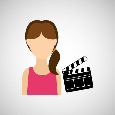 filmmaker: woman cartoon clapper movie design vector illustration
